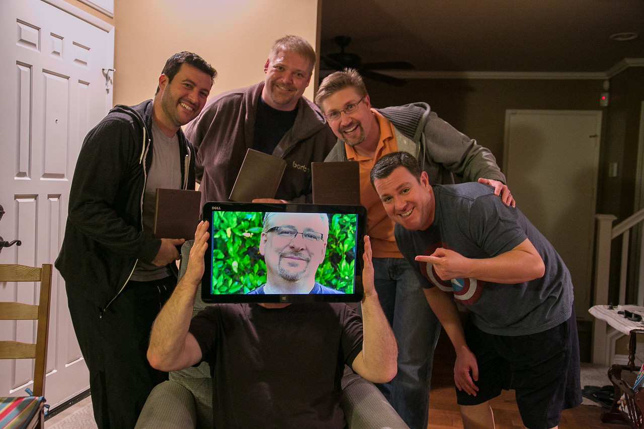 """The """"Men For Peace"""" small group: Michael, Jeff, Todd, Victor, and Scott (transformed into Rick Warren)"""