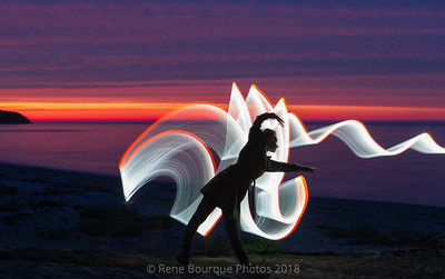 Light painting au crépuscule