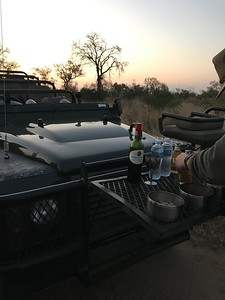 Beverages and snacks at sundown.