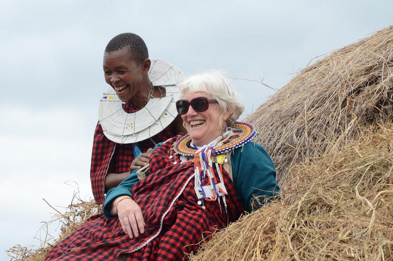 Roof-thatching demonstration - Maasai village - near Tarangire