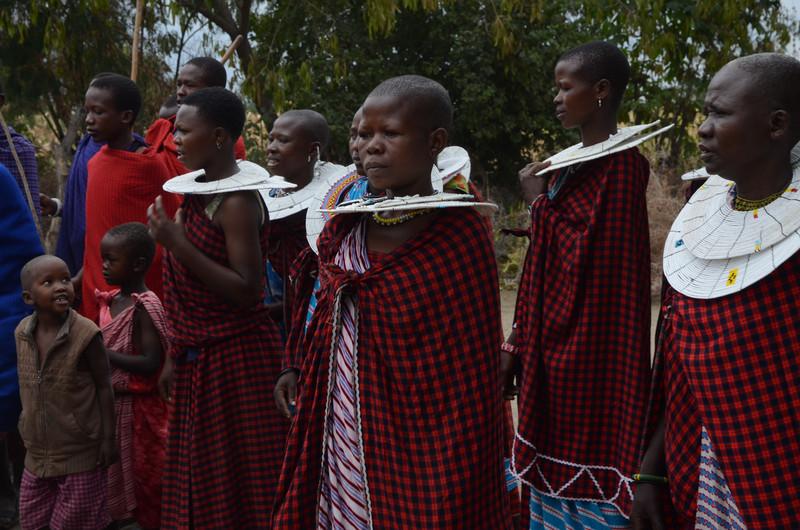 Maasai women welcoming guests - Maasai village - near Tarangire