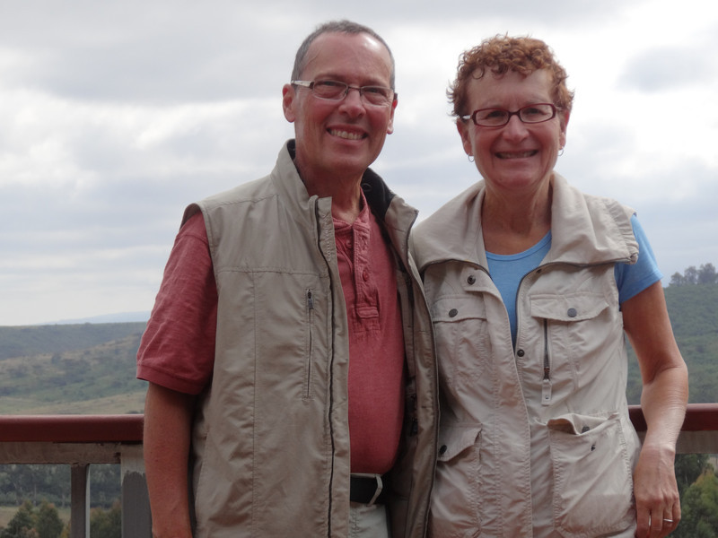 Ken and Bev at Tloma Lodge - Karatu, Ngorongoro Highlands