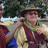 Dressing in Maasai clothing - Maasai village - near Tarangire