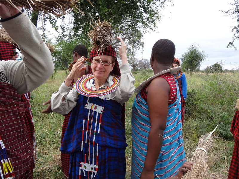 Dressed in Maasai clothing - Maasai village - near Tarangire