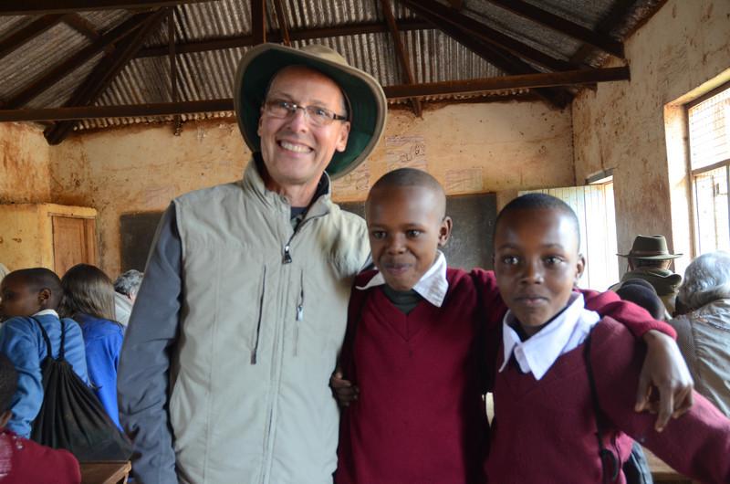 Ken with two students at Rhotia Primary School -Karatu, Ngorongoro Highlands