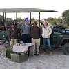 Sandibe:  L to R:  Bring (tracker), me, Shaka (Guide) & Yvonne from Amsterdam