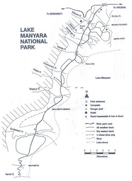 map of Lake Manyara National Park