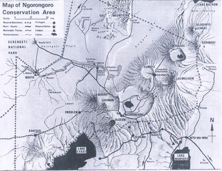 map Conservation Area Ngorongoro Crater