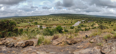 "View over the  Ewasonarock river with the new ""river camp""  on the right."