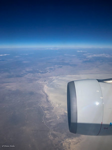 Flying over Ethosha National Park. Later we will actually be driving on the road you see below!