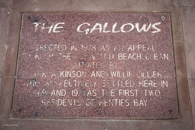 The Gallows of Henties Bay, put up in 1978 as a 'friendly but firm' warning to keep the town and beach clean – or else!
