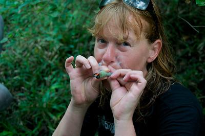 Smoking Elephant Dung, Selous Safari-walk