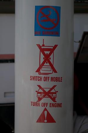 Warning sign at Gas station