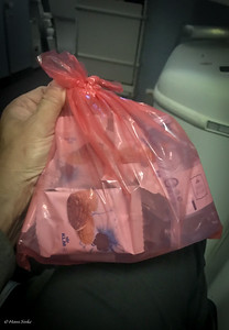 "Nice gift from the stewardess: Nuts, Water and ""Stroopwafels"" ! Thanks KLM!"