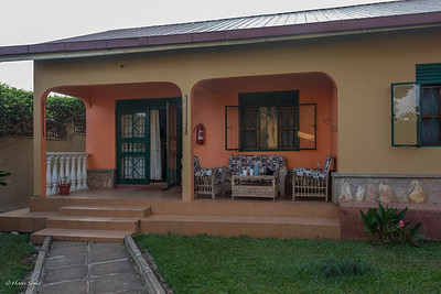 Entebbe Airport Guesthouse, our first morning coffee
