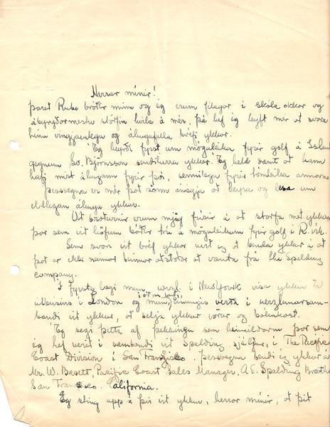 Walt Arneson, golfkennari  svarar umleitan Golfklúbbs Íslands 1934 (Bréf 1/3