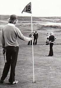 Björgvin Þorsteinsson og Loftur Ólafsson á lokaflötinni á Íslandsmótinu 1974 sem haldið var í Grafarholti.