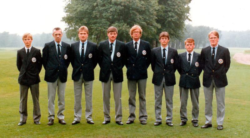 Em_i_Halmstadt 1985 Fv. Úlfar Jónsson GK, Frímann Gunnlaugsson GSÍ, Sigurður Pétursson GR, Guðmundur S. Guðmundsson GSÍ, Björgvin Þorsteinsson GA, Hannes Eyvindsson GR, Sigurður Sigurðsson GS, Ragnar Ólafsson GR.