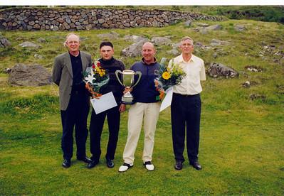 Sigurvegarar í Opna-GR voru þeir Jón Ingþórsson og Ragnar Gunnarsson. Með þeim eru þeir Gestur formaður og Jón Pétur varaformaður.