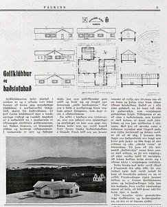 Úr vikublaðinu Fálkanum frá 1938 þar sem fjallað er um nýbyggða golfskálabyggingu. (timarit.is)