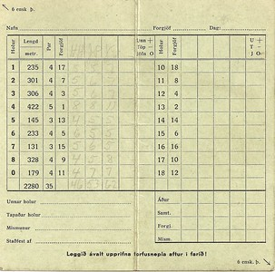 Skorkort (fyrir 1940)