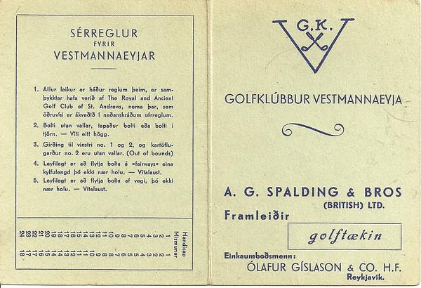 Úr golfkortasafni Golfklúbbs Reykjavíkur.