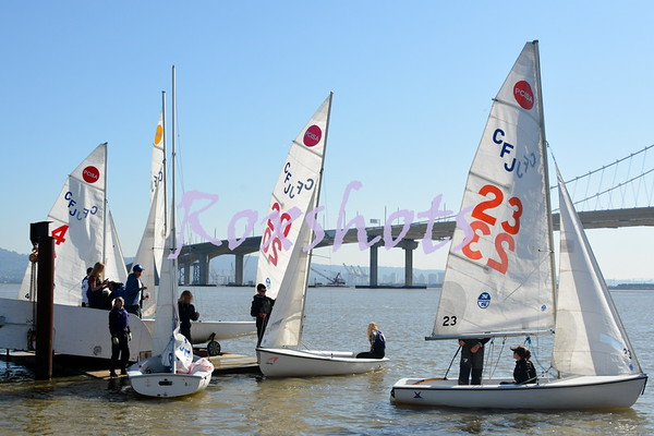 Day #2 of the PCISA Golden Bear Regatta with 128 high school students in 64 fleets racing in CFJ's at the Treasure Island Sailing Center, Sun. 2/27/17