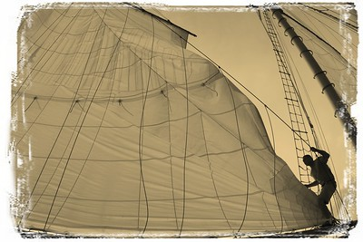Fighting man and sails