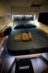 The port aft cabin which we always occupy.  Next time we might just stay in the starboard cabin since all the circuit breakers are located there and it is easier for the Captain to manage.  The beautiful mat from the Neilsons makes it look even better.