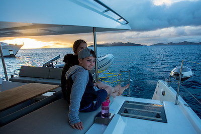 Wendy and Lincoln check the sunset as we get close to our mooring ball.
