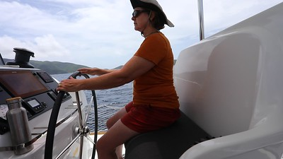 Linda at the helm.