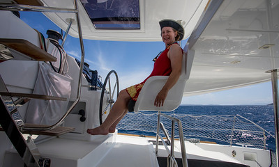 Linda likes the Captains Chair!