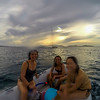 Riding the dinghy back to the catamaran