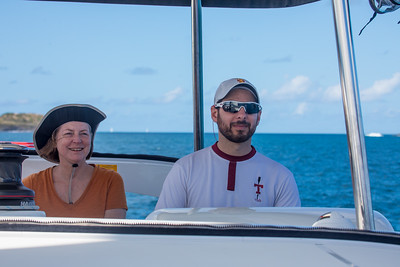 Mother and son enoying the sail out to Gorda Sound.
