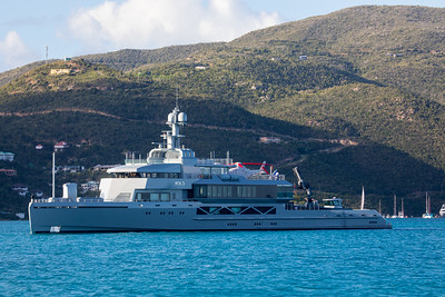 Another rather large yacht. It is called Bold and is for 18 passenger and I think has 22 crew members. It has a crane in theaft and forward portions and looked very warship like!