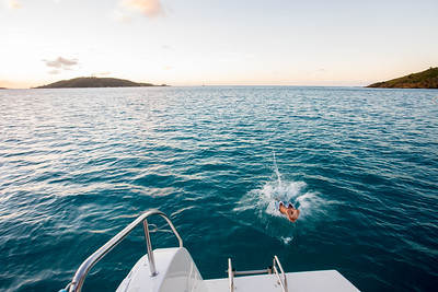First night we anchored in Gorda Sound.  Duane showed us how he uses the drop off of sand bars to get better holding with the anchor.  Here he dives in for a swim.