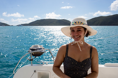 Anisa has her sun hat on for protection.  The weather was beautiful with a 15 knot wind and about 82 deg F