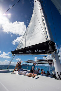Setting sail on Apres Sail, a Lagoon 42.  This was our first time with the helm on the port side.
