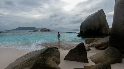 Anisa walking in the rocks at Cocos Island.The place was deserted and we had it all to ourselves.