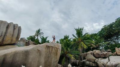 Anisa once again climbs a rock!
