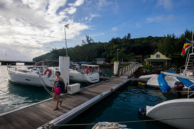 The DYC Base at Praslin (prounounced PRALAN).  Anisa walks to the base to take a shower.  Never a good idea to put your gray water into the marina.