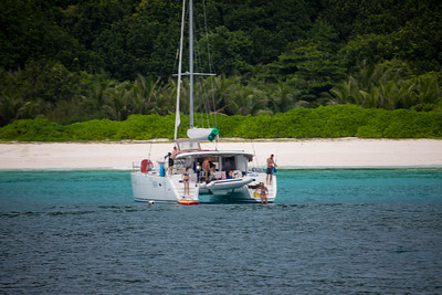 Petite Anse beach.  The north winds made this very sheltered but we had to rely on our anchor.  The chart briefer had warned us to not take the dinghy to the beach and we saw a family try to land on the beach only to flip it at the last minute.  Mostly egos were hurt!