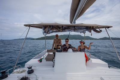 Huxley and Danny are up to speed on steering.  Praslin is behind us.