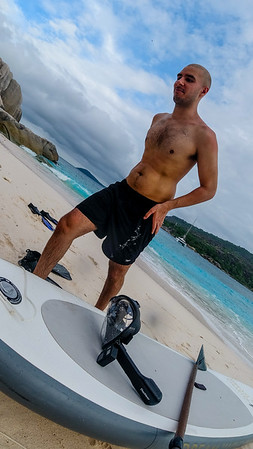 On Cocos island.  Daany took the paddle board ashore.