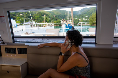 On the phone with Andrew while in the Marina waiting for our two briefings.  We get a technical briefing that explains the workings of the yacht systems, a chart briefing where they warn us of hazards and help with planning an itinerary