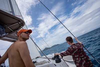 Danny and Huxley keep watch as we start towards cocos.  It was where the wind was coming from so we had to tack many times.