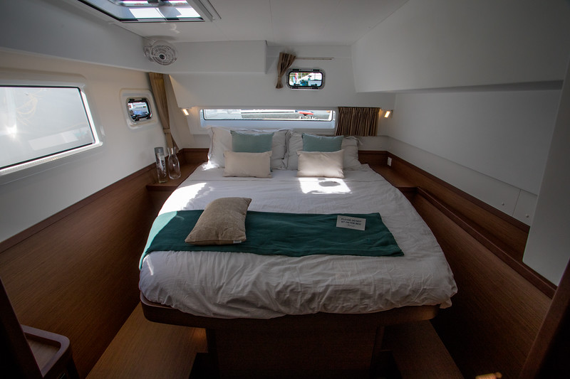Lagoon 42.  Stern cabin.  Lots of room and light....and shelves for LInda.