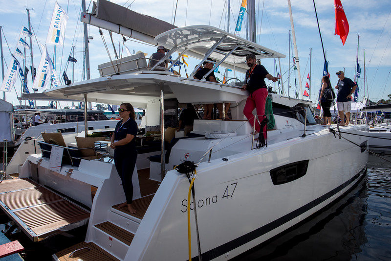 The Fountaine Pajot Saona 47.  Bigger than what we need but is used for crewed charters extensively since it has 5 cabins, so the crew uses one and the other cabins can be used by passengers.  The advantage of the crewed version is that it is well looked after and generally will have less wear and tear.