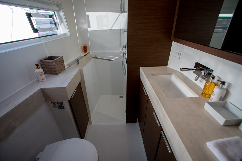 Lagoon 42.  Owners bathroom.  Very nicely appointed.
