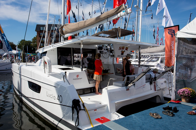 The first stop was the Fountaine Pajot dock that had a number of catamarans including the 40 ft Lucia and the 42 foot Astrea.  We met our dealer there, Anne-Sophie Gomez who is in St. Martin.